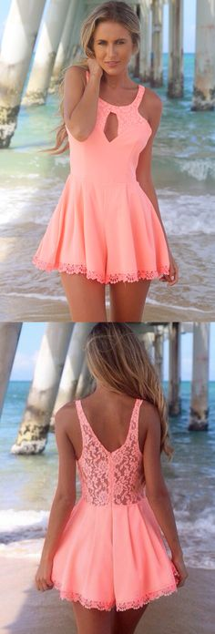 2017 homecoming dresses,coral homecoming dresses,short homecoming dresses,lace homecoming dresses