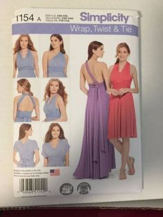 Simplicity Pattern 1154 - Misses Infinity Dress, Wrap Twist and Tie Dress, Prom Evening Bridesmaid Dress, XS-XXL, Uncut FF Sewing Pattern Infinity Dress Patterns, Infinity Wrap Dresses, Dress Making Patterns, Easy Sewing Patterns, Simplicity Sewing Patterns, Infinity Clothing, Skirt Patterns, Sewing Dress, Sewing Clothes