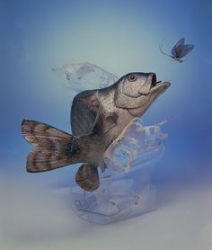 """Ellen Rixford; soft sculpture. """"Fish snapping at a mayfly"""". Made for a sporting magazine cover. Wave of plexiglass."""