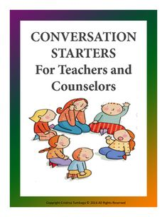 This product contains sample conversation starters that teachers and counselors can use.This product is best used for middle school year children aged 11-13 years old.It is divided into 5 categories:a. Familyb. Selfc. Schoold. Friendse. Anything under the sun* If you liked these conversation starters, there are more.