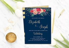 Gold Glitter Wedding Invitation,Printable,Navy Wedding Invitation Suite,Floral…