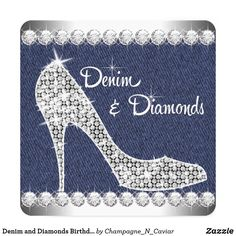 Denim and Diamonds Birthday Party Invitations today price drop and special promotion. Get The best buyHow to Denim and Diamonds Birthday Party Invitations today easy to Shops & Purchase Online - transferred directly secure and trusted checkout. Diamond Theme, Diamond Party, Diamond Life, 50th Party, 40th Birthday Parties, Birthday Cards, 13 Birthday, Special Birthday, Birthday Celebration