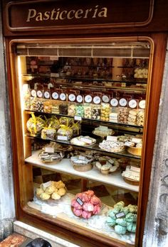 Pasticceria selling merighe e biscotti (meringues and bisquits) in Venice, Italy