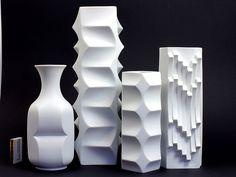"Heinrich FUCHS SCULPTURAL OP ART VASES ""Archais"" MID CENTURY 60s"