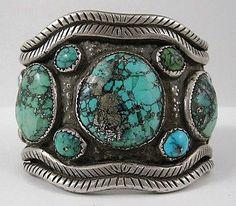 Vintage Navajo Ithaca Peak Turquoise And Sterling Bracelet