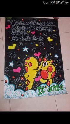 Regalo Velandia Mariana Boyfriend Anniversary Gifts, Boyfriend Birthday, Boyfriend Gifts, Unicorn Crafts, Cute Couples Goals, Disney Drawings, Paper Piecing, Happy Day, Graffiti