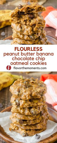 Flourless Peanut Butter Banana Chocolate Chip Oatmeal Cookies are wholesome flourless cookies with no refined sugar! @FlavortheMoment