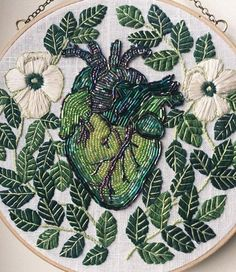 Embroidery Art and Clothing, by Tessa Perlow on Etsy Embroidery Hearts, Hand Embroidery Patterns, Cross Stitch Embroidery, Embroidery Designs, Modern Embroidery, Beaded Embroidery, Lace Heart, Bead Art, Textile Art