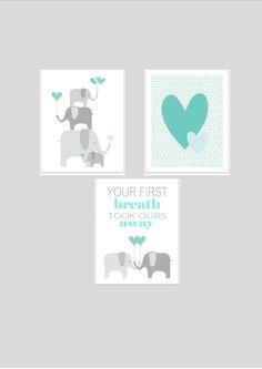Elephants printable nursery art set, instant download, elephant nursery art, grey and teal nursery decor, elephants nursery decor. £10.00, via Etsy.