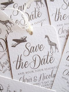 Our Vintage Safari Luggage Label Save the Date Cards are perfect for letting your guests know they need to book time off and flights to your wedding abroad!  Each Save the Date Luggage Label is finished with rounded corners at the top and ribbon / string of your choice, supplied with a C6 Envelope.