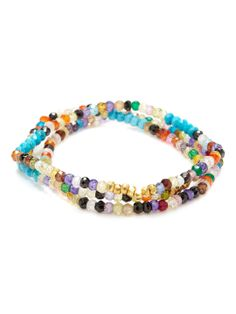 Set Of 3 Turquoise & Multicolor CZ Stretch Bracelets by Mary Louise Designs at Gilt