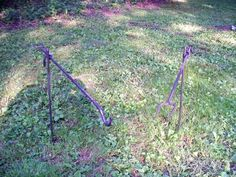This is for 1 fork and 1 hanger. Place one rod in the ground next to fire and hook or fork rests in the rod and holds your pot or marshmallow over the fire. Utensil Racks, Steel Rod, Camping Gear, Glamping, Squirrel, Metal Working, Garden Tools, Cooker, Marshmallow