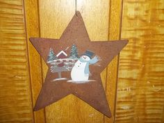 Primitive Star Hand Painted Snowman Country Christmas by thefarmladyscupboard on Etsy