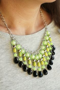 €36.00 - Acid Green and Black Statement Necklace Beaded bib by art2dress