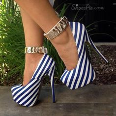 Beautiful, Charming Blue and White Platform Heels Ankle Strap Pumps you best choice for Wedding, Big day -TOP Design by FSJ Stilettos, Stiletto Heels, Hot Shoes, Crazy Shoes, Shoes Heels, Shoes Uk, Plateau Pumps, Platform High Heels, Platform Sneakers