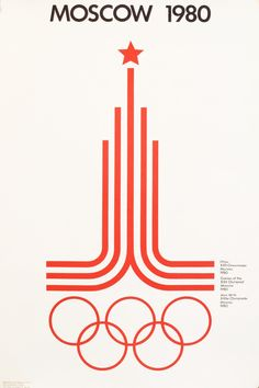 1980 Original Moscow Olympics Poster, Red and White Logo #1980-present #affiche-russe #contemporary-poster #graphic #jeux-olympiques #logo #moscow #olympiad #olympics #red #russia #russian #russian-poster #sports #summer-olympics #white