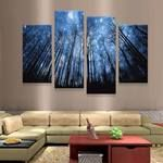 Forest Large Canvas Print, Forest Wall Decor, Forest 4 Piece Canvas Art Framed