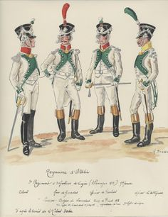 Italy; 3rd Line Infantry, Officers in Grande Tenue Germany 1813, L to R Colonel, Grenadier Officer, Fusilier Officer & Voltigeur Officer.