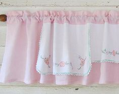 Pink Linen Basket Valance, Upcycle Embroidery, Window Valance, Repurpose Dresser Scarf, Pink Window Curtains