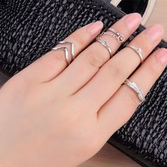6pcs/Set Rings Urban Gold stack Crystal Cute Above Knuckle Ring Band Midi Ring H #unbranded #Band