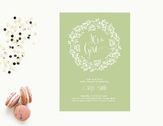 Word Template baby shower Invitation | Editable Word Template | Instant download |  green | Wreath