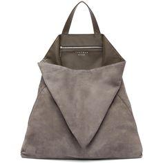 Tsatsas Grey Suede Fluke Tote ($1,265) ❤ liked on Polyvore featuring bags, handbags, tote bags, purses, gray tote, grey purse, grey handbags, tote handbags and man bag