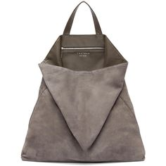 Tsatsas Grey Suede Fluke Tote ($1,110) ❤ liked on Polyvore featuring bags, handbags, tote bags, purses, totes, tote purses, gray purse, suede tote bags, tote handbags and grey purse