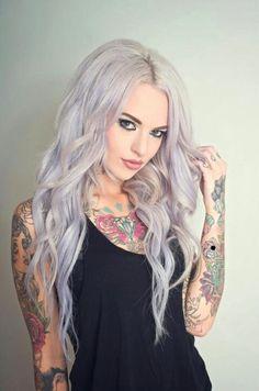 Lavender/silver hair.