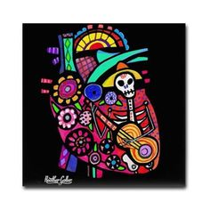 65% Off- Mexican Folk Art Anatomy Heart tile print on ceramic by Heather Galler
