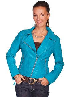 Scully Motorcycle Leather Jacket Blue AT COWGIRL BLONDIE'S WESTERN BOUTIQUE