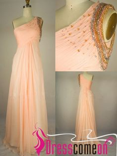 149.00$  Watch now - http://vicno.justgood.pw/vig/item.php?t=iwjgzw28917 - A line One Shoulder Beads Orange Chiffon Prom Dress Long Party Dress Formal Gown 149.00$