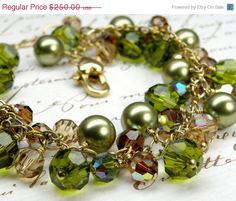 Olive Green Bracelet Gold Filled Swarosvki Crystals by fineheart
