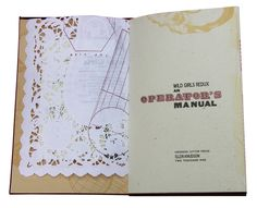 Wild Girl Redux: An Operator's Manual by Ellen Knudson of Crooked Letter Press // bound as an accordion portfolio cover with two single signature pamphlets sewn-in, printed pages of ephemera, pink heart paper doilies, white doily placemats and green office ledger papers