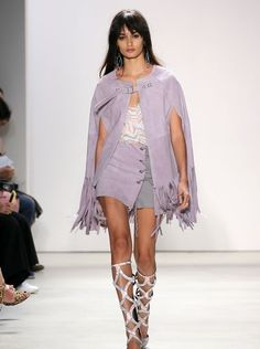 This lilac-and-gray look from Saturday's Rebecca Minkoff