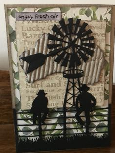 Silhouette card with paper Rose men on fence die Masculine Birthday Cards, Birthday Cards For Men, Masculine Cards, Male Birthday, Card Making Inspiration, Making Ideas, Cowboy Christmas, Card Companies, Candy Cards