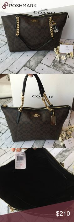 """Nwt COACH """"Sig Ava Chain Tote"""" Brand new with tags authentic Coach """"Signature AVA Chain Tote."""" Absolutely stunning dark brown and black classic """"c"""" monogram print leather finished with gold hardware. This is a beautiful and classy bag to carry and the zip top makes it so convenient!    ❌❌No Trades❌❌.    I price realistically, so low ball offers will be ignored..! Coach Bags Totes"""