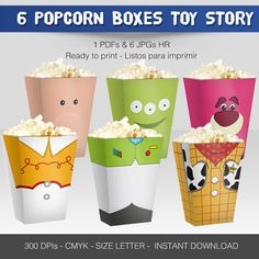 6 miniPopcorn Box Toy Story by Migueluche on Etsy