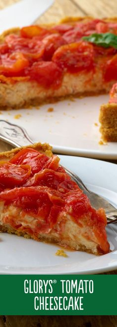 Our Glorys® Tomato Cheesecake is anything but boring: it'll be love at first bite. Savory Cheesecake, Cheesecake Recipes, Pizza Recipes, Veggie Recipes, Casserole Recipes, Yummy Recipes, Dessert Dishes, Food Dishes, Veggie Dishes