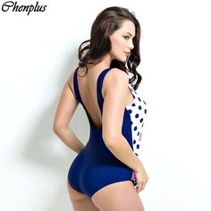 Chenplus Plus size one piece swimsuit dot print summer style 2016 maillot de bain push up swimwear monokini