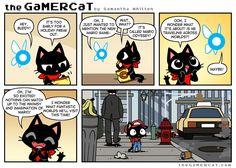 He plays video games. Cat Comics, Anime Comics, Short Funny Comics, Funny Webcomics, Gamer Cat, Funny Comic Strips, Video Game Memes, Mario, Universe Art