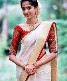 Phulkari Saree, Kasavu Saree, Kurti, Kerala Wedding Saree, Saree Wedding, Bengali Wedding, Set Saree, Saree Dress, Kerala Saree Blouse