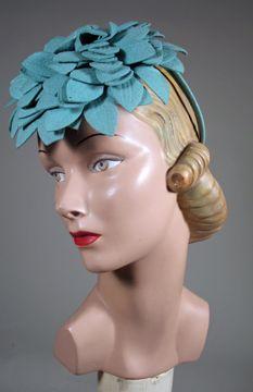 1940s Aqua Felt Tilt Hat  3367b6d2d45