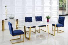 Meridian Furniture Cameron Navy Velvet Dining Chair - Set of 2