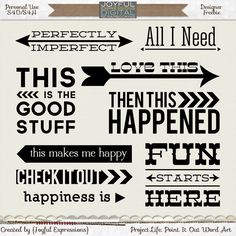 #papercraft #scrapbooking Free Point it Out Wordart for #ProjectLife from Joyful Expressions