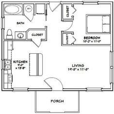 PDF house plans, garage plans, shed plans. 1 Bedroom House Plans, Guest House Plans, Small House Floor Plans, Cabin Floor Plans, Tiny Cottage Floor Plans, Two Bedroom Tiny House, Tiny House Cabin, Tiny House Living, Tiny House Design