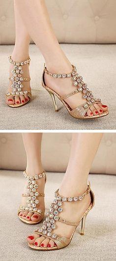 Gold Rhinestone Sandals //