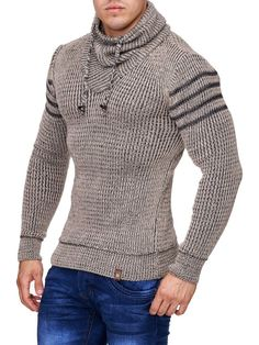 K&D Men Stylish 3 Lines Turtle Neck Sweater - Beige