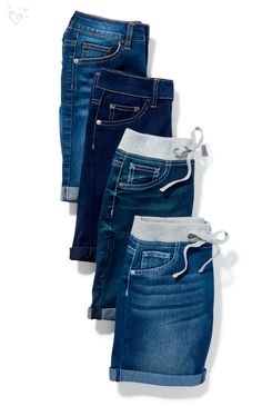 Signature stretchy denim with a perfect fit you'll want to wear every day of spring vacay. Available in 3 fits: short, mid-thigh and bermuda! Sporty Outfits, Hot Outfits, Dance Outfits, Stylish Outfits, Kids Outfits, Cute Kids Fashion, Tween Fashion, Girl Fashion, Gents Shirts