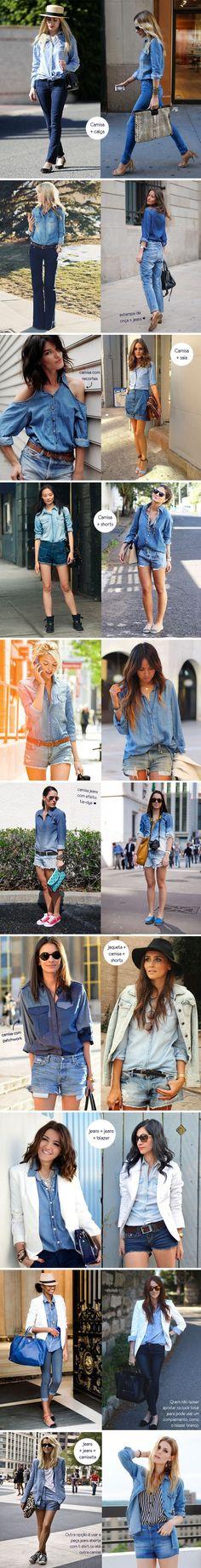 Já pensou em misturar duas peças em jeans no mesmo look? Esse é o assunto de hoje. Inspire-se na seleção de produções lindas com total jeans.