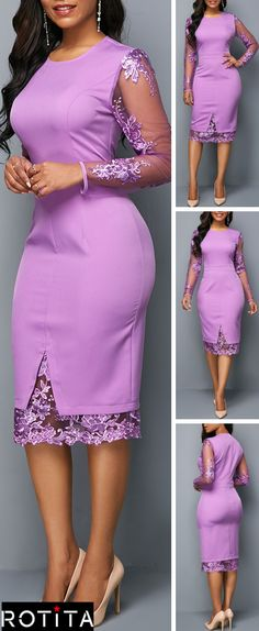 This stunning dress is a must have staple for whatever time of year. The True to You purple Midi Dress is loyally devoted to keeping you looking good! Good idea to add sleeves to purple dresss. Short African Dresses, Latest African Fashion Dresses, Women's Fashion Dresses, Lace Dress Styles, Dress Lace, Peplum Dress, Dress Pants, Trendy Clothes For Women, Classy Dress